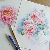 """Картины ручной работы. Ярмарка Мастеров - ручная работа Акварель """"Розы"""". Handmade."""