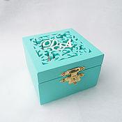 Свадебный салон handmade. Livemaster - original item Wooden Turquoise Ring Box (box with initials). Handmade.