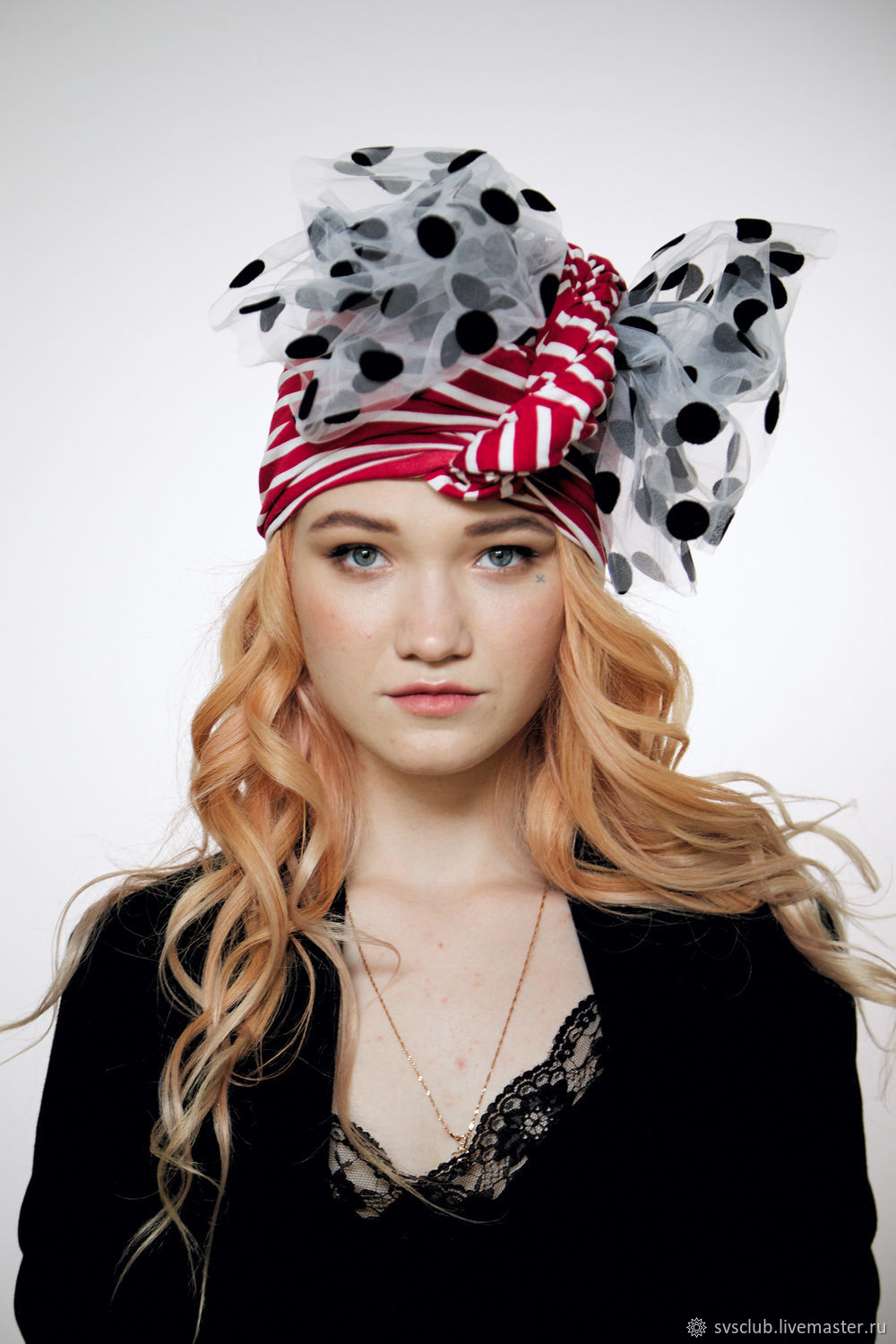 Striped convertible red-white turban hijab hat, Panama, Moscow,  Фото №1