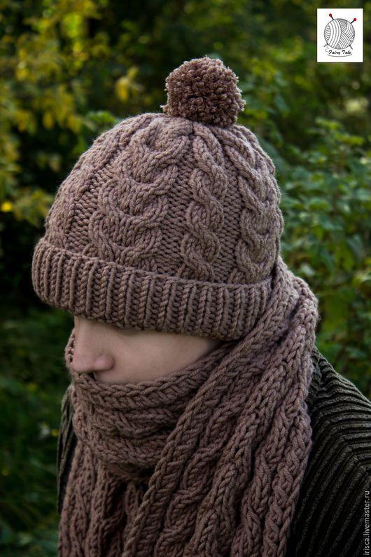 """Для мужчин, ручной работы. Ярмарка Мастеров - ручная работа. Купить Вязаный мужской комплект """"Капучино"""" (шапка+шарф). Handmade. Коричневый"""