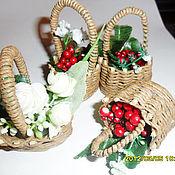 Куклы и игрушки ручной работы. Ярмарка Мастеров - ручная работа корзинка миниатюрная с ягодами. Handmade.