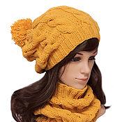 Аксессуары handmade. Livemaster - original item Set Hat stocking with POM-POM Snood with braids Mittens. Handmade.