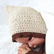 Работы для детей, handmade. Livemaster - original item Knitted cap for newborn photo shoot, for girl beige. Handmade.