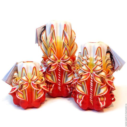 Свечи ручной работы. Ярмарка Мастеров - ручная работа. Купить Подарочный набор резных свечей оранжевый. Купить резные свечи в москве. Handmade.