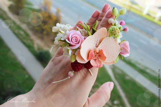 Браслеты ручной работы. Ярмарка Мастеров - ручная работа. Купить Браслет  с орхидеей и серьги. Handmade. Разноцветный, орхидея, полимерная глина