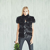 """Одежда ручной работы. Ярмарка Мастеров - ручная работа Меховой жилет """"Black"""" 70 см. Handmade."""