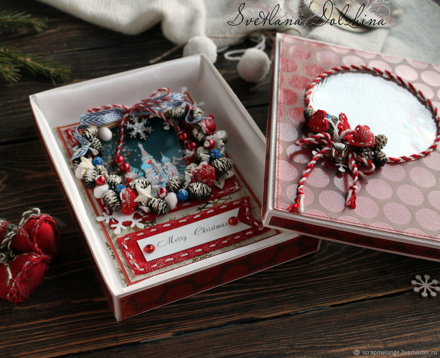 Christmas card 'Christmas' in a box red, Cards, Tyumen,  Фото №1