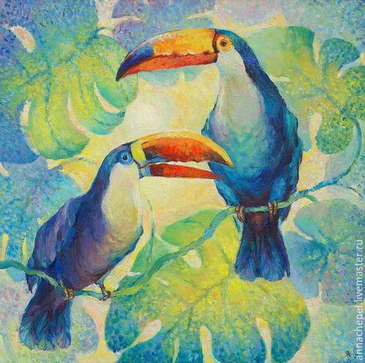 Туканы. Анна Чепель. 60х60 см., холст, масло, 2002  Яркие тропические птицы на освещенном солнцем фоне из листьев монстеры.
