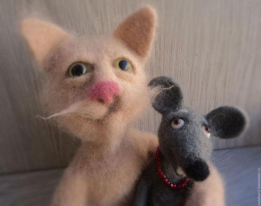 Игрушки животные, ручной работы. Ярмарка Мастеров - ручная работа. Купить Кот Марсик и мышка Малышка. Handmade. Кот, мыши