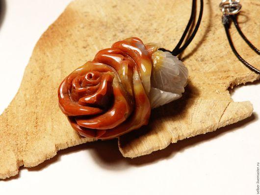 Кулоны, подвески ручной работы. Ярмарка Мастеров - ручная работа. Купить Резной кулон из агата Каменная роза. Handmade. Комбинированный