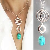 Украшения handmade. Livemaster - original item Turquoise pendant on a chain - light, beautiful, summer. Handmade.