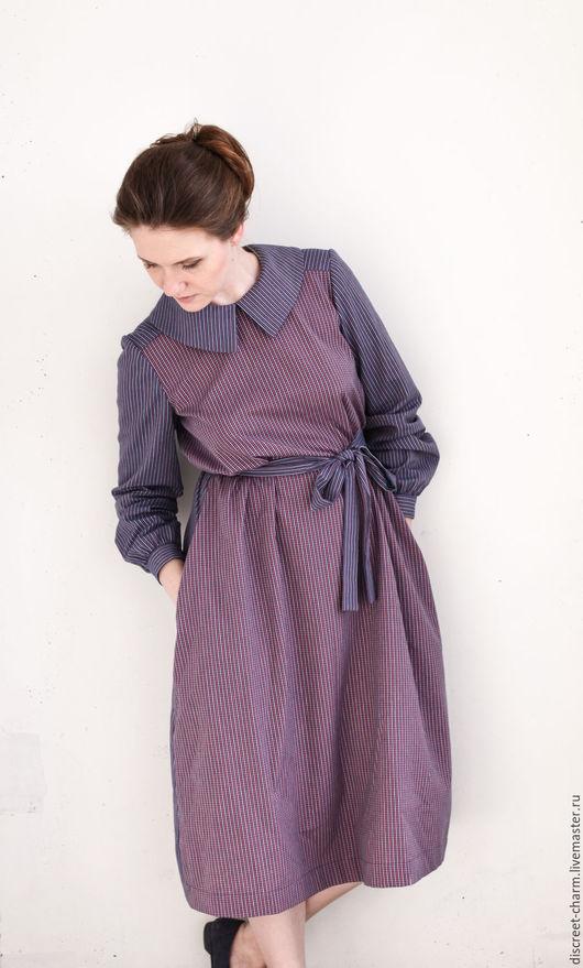 Платья ручной работы. Ярмарка Мастеров - ручная работа. Купить Сине-розовое хлопковое платье с длинным рукавом, в клетку и полоску. Handmade.
