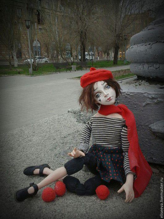 Авторская кукла Девочка Мим Николь. Интерьерная кукла, выполненная в смешанной технике. Ливинг Долл. Ручная работа.