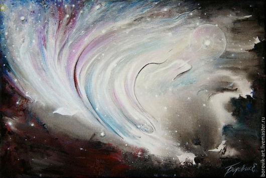 """Абстракция ручной работы. Ярмарка Мастеров - ручная работа. Купить Картина """"Полет среди миров"""". Handmade. Разноцветный, космос, полет"""