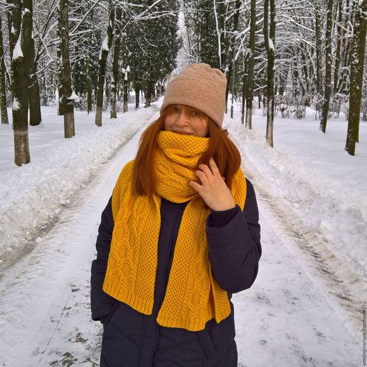 Шарфы и шарфики ручной работы. Ярмарка Мастеров - ручная работа. Купить Большой жёлтый шарф с аранами. Handmade. Желтый