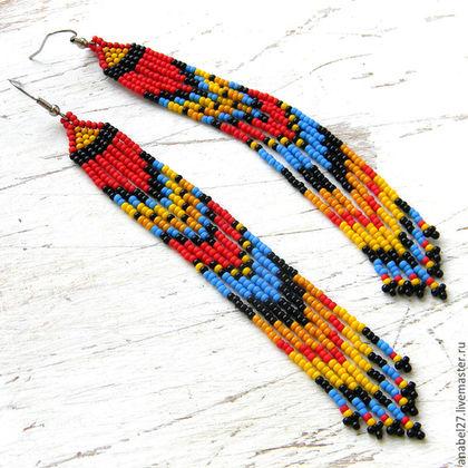 серьги из бисера, серьги, длинные серьги, этно серьги, этнические серьги