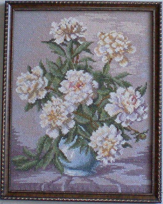 Картины цветов ручной работы. Ярмарка Мастеров - ручная работа. Купить Вышитая картина'' Пионы''. Handmade. Вышитая картина, цветы
