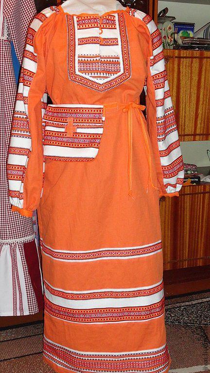 Этническая одежда ручной работы. Ярмарка Мастеров - ручная работа. Купить платье-покосница. Handmade. Рыжий, этно стиль, покосница