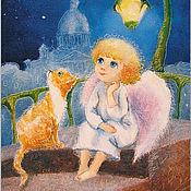 Картины и панно handmade. Livemaster - original item The angel and Red cat painting Reproduction. Handmade.
