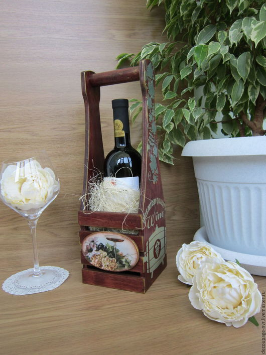 Корзины, коробы ручной работы. Ярмарка Мастеров - ручная работа. Купить Короб для вина и шампанского Золотая лоза. Handmade.