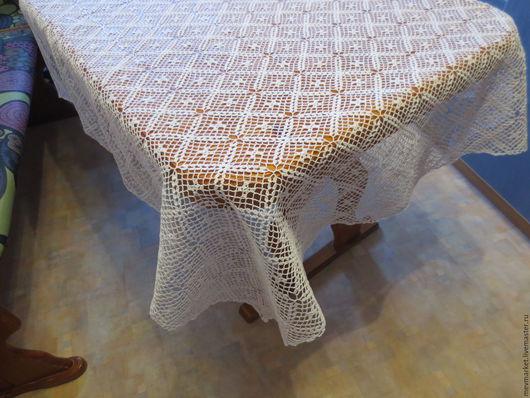 Текстиль, ковры ручной работы. Ярмарка Мастеров - ручная работа. Купить Скатерть вязаная квадратная. Handmade. Белый