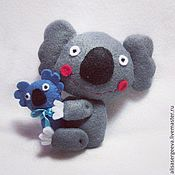Куклы и игрушки ручной работы. Ярмарка Мастеров - ручная работа Коала с малышом. Handmade.