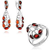 Украшения handmade. Livemaster - original item Set of silver jewelry with amber