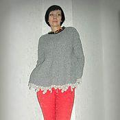 Одежда ручной работы. Ярмарка Мастеров - ручная работа Вязаный джемпер с кружевом. Handmade.
