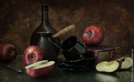 Фотокартины ручной работы. Ярмарка Мастеров - ручная работа. Купить Натюрморт фото, картина Яблоки с темной посудой. Handmade. Черный