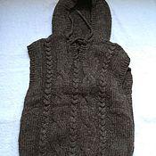 Одежда ручной работы. Ярмарка Мастеров - ручная работа Жилет с капюшоном.Овечья шерсть. Handmade.