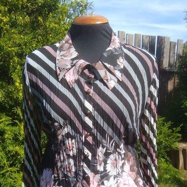 """Одежда ручной работы. Ярмарка Мастеров - ручная работа """"Нарядная полоска"""". Блуза из жатой вискозы. Европейский винтаж. Handmade."""