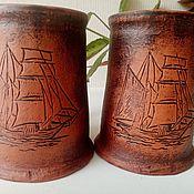 Посуда handmade. Livemaster - original item Author`s handmade beer mug: Sailboat. Handmade.