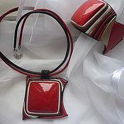 """Украшения ручной работы. Ярмарка Мастеров - ручная работа комплект """" красный квадрат"""". Handmade."""