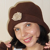 Аксессуары handmade. Livemaster - original item Women`s knitted hat elegant warm hat for spring Chocolate. Handmade.