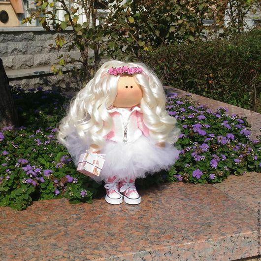 Куклы тыквоголовки ручной работы. Ярмарка Мастеров - ручная работа. Купить Интерьерная текстильная кукла. Handmade. Бледно-розовый