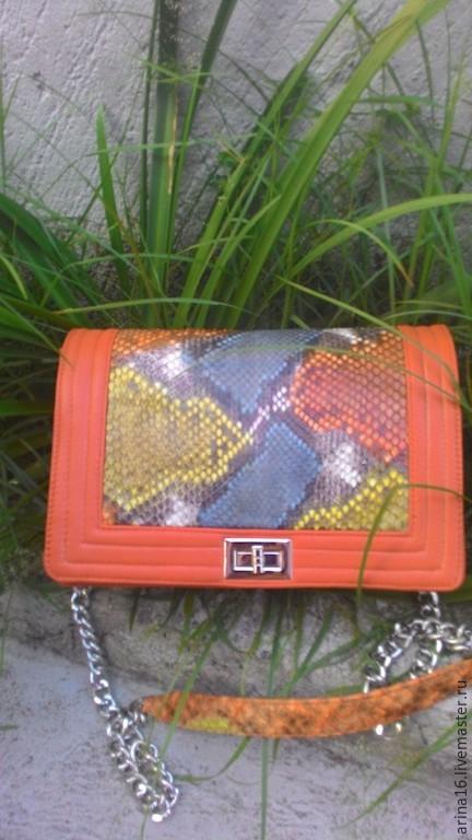 Женские сумки ручной работы. Ярмарка Мастеров - ручная работа. Купить сумочка  из питона. Handmade. Оранжевый, сумка женская