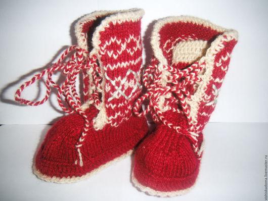 Детская обувь ручной работы. Ярмарка Мастеров - ручная работа. Купить Детские сапожки. Handmade. Бордовый, сапожки для дома