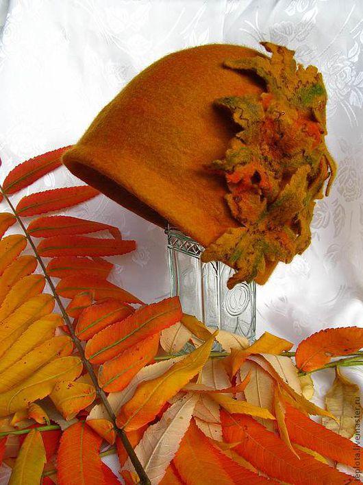 """Шляпы ручной работы. Ярмарка Мастеров - ручная работа. Купить шляпка валяная """"Осенний шик"""". Handmade. Шляпка валяная"""