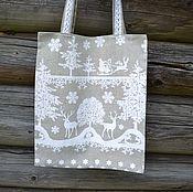 """Сумки и аксессуары ручной работы. Ярмарка Мастеров - ручная работа Льняная сумка """"Сказочный лес"""", подарки на Новый год. Handmade."""