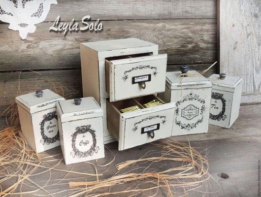 короб для кухни в стиле прованс из дерева в технике декупаж, можно в подарок набор.