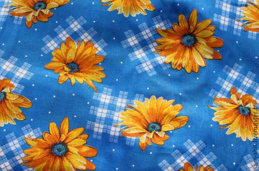 Шитье ручной работы. Ярмарка Мастеров - ручная работа. Купить Ткань хлопок подсолнухи 50х40 см. Handmade. Синий