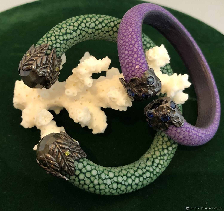 Комплект браслетов: Из кожи ската – купить на Ярмарке Мастеров – M4R3KRU | Комплект браслетов, Москва
