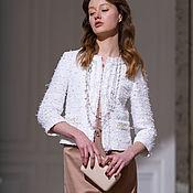 Одежда handmade. Livemaster - original item Chanel style jacket in white tweed with pearls. Handmade.