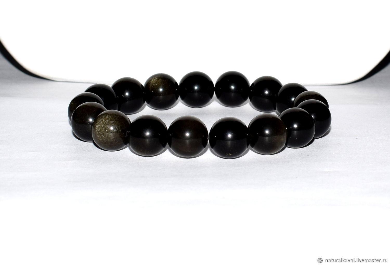 Bracelet made of natural black obsidian (M), Bracelets, Moscow, Фото №1