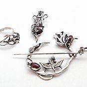 Украшения handmade. Livemaster - original item Set with roses. Handmade.