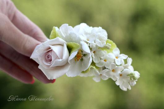 Заколки ручной работы. Ярмарка Мастеров - ручная работа. Купить Зажим для волос Крыло ангела Белая сирень, роза, гортензия, яблоня. Handmade.