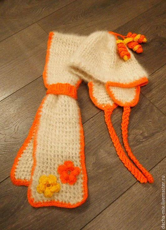 Одежда для девочек, ручной работы. Ярмарка Мастеров - ручная работа. Купить Шапочка и шарфик для девочки. Собачья шерсть, ручная работа.. Handmade.