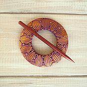 Брошь-фибула ручной работы. Ярмарка Мастеров - ручная работа Заколка Фиолетовый Георгин для шали или прически. Handmade.