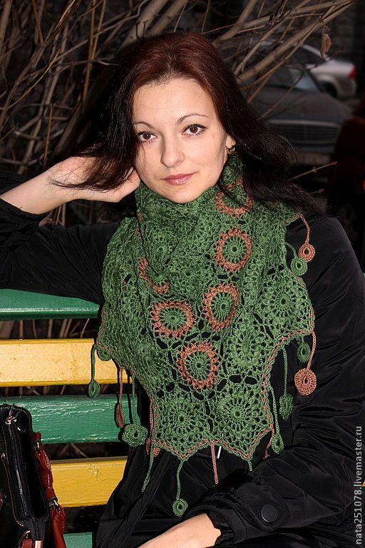 """Шали, палантины ручной работы. Ярмарка Мастеров - ручная работа. Купить шаль-платок """"Зеленый лес"""". Handmade. Тёмно-зелёный"""