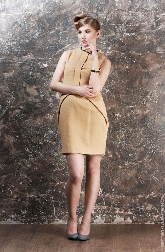 Платья ручной работы. Ярмарка Мастеров - ручная работа. Купить Горчичное платье. Handmade. Желтый, шерстяное платье, дизайнерское платье
